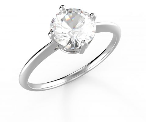 Wedding ring with diamond isolated on a white background. 3D illustration